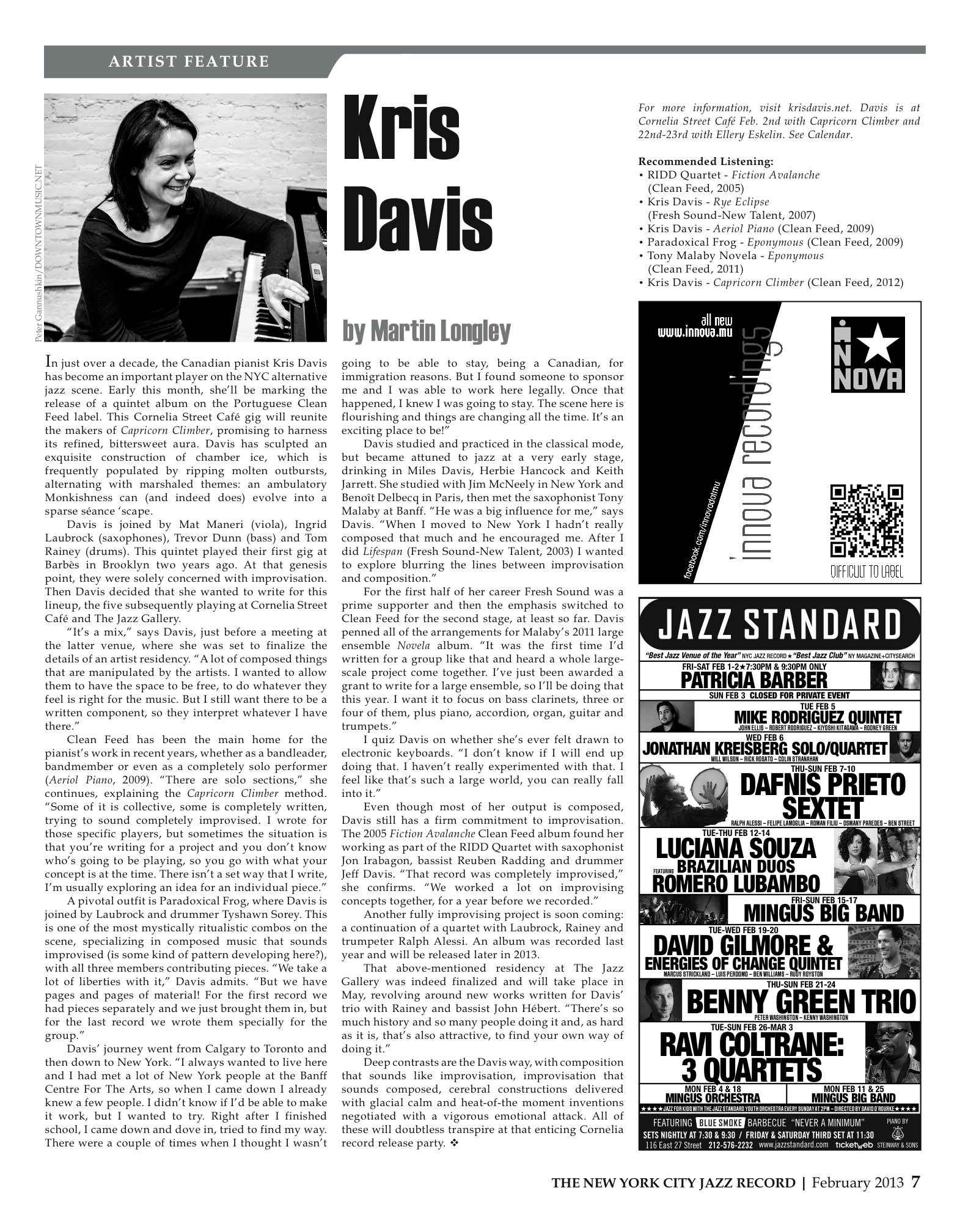 Feature in the New York Jazz Record this month